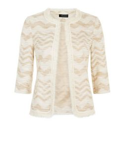 Cream Zig Zag Fringe Cropped Jacket  | New Look