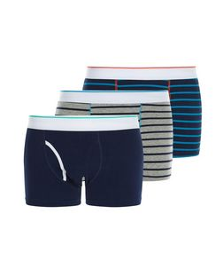 3 Pack Multicoloured Stripe Boxer Shorts | New Look