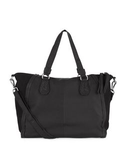 Black Leather Slouch Tote Bag  | New Look