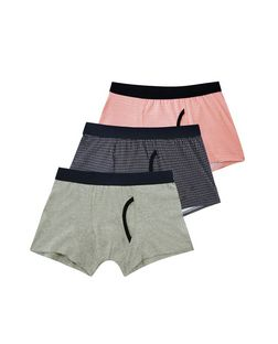 3 Pack Grey Pink and Blue Geo Print Boxer Shorts  | New Look