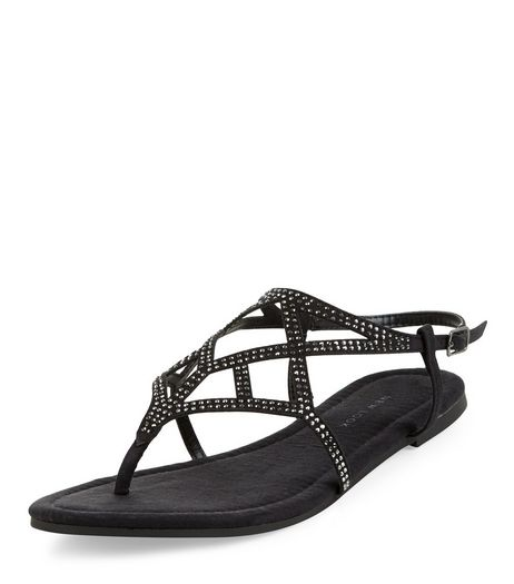 Black Suedette Diamante Strap Sandals  | New Look