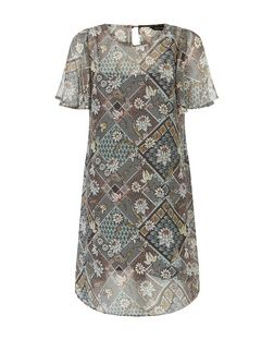 Brown Chiffon Floral Geo Print Tunic Dress  | New Look