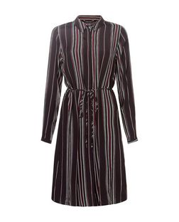 Black Stripe Long Sleeve Shirt Dress  | New Look