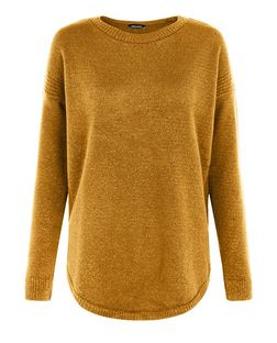 Dark Yellow Dip Hem Jumper  | New Look