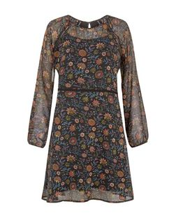 Anita and Green Black Floral Print Long Sleeve Dress  | New Look