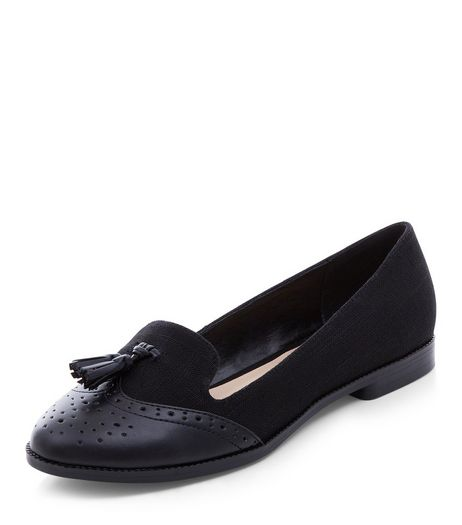 Black Contrast Embossed Tassel Front Loafers  | New Look