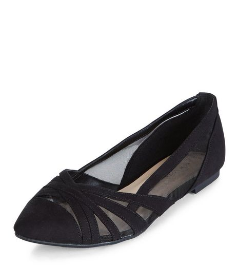 Black Mesh Cross Strap Panel Pumps  | New Look