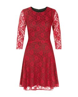 Lost Society Red Lace 3/4 Sleeve Dress | New Look