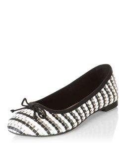 Black Contrast Woven Metallic Ballet Pumps  | New Look