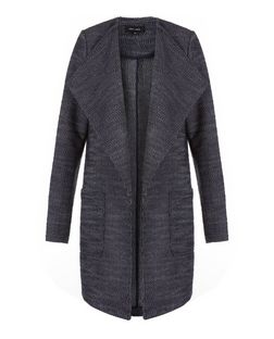 Navy Fine Knit Waterfall Lightweight Coat  | New Look