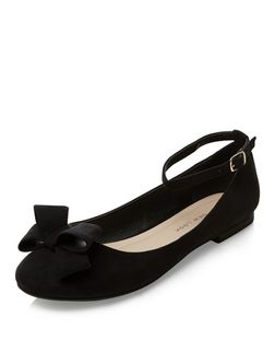 Teens Black Suede Bow Ankle Strap Pumps | New Look