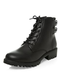 Teens Black Leather-Look Double Strap Back Ankle Boots  | New Look