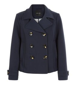 Navy Short Pea Coat  | New Look