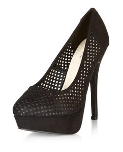 Black Comfort Suedette Perforated Platform Heels | New Look