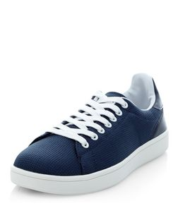 Navy Woven Trainers  | New Look
