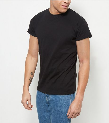 Black Roll Sleeve T-Shirt  | New Look