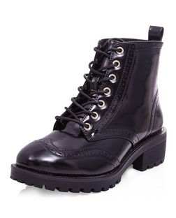 Teens Black Leather-Look Lace Up Ankle Boots | New Look