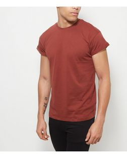 Rust Roll Sleeve T-Shirt  | New Look