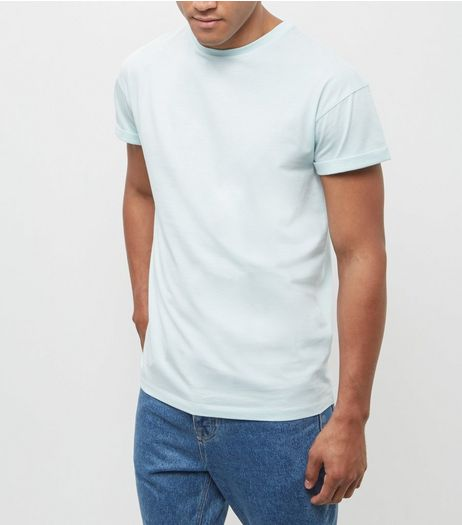 Mint Green Roll Sleeve T-Shirt  | New Look