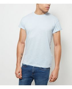 Pale Blue Roll Sleeve T-Shirt  | New Look