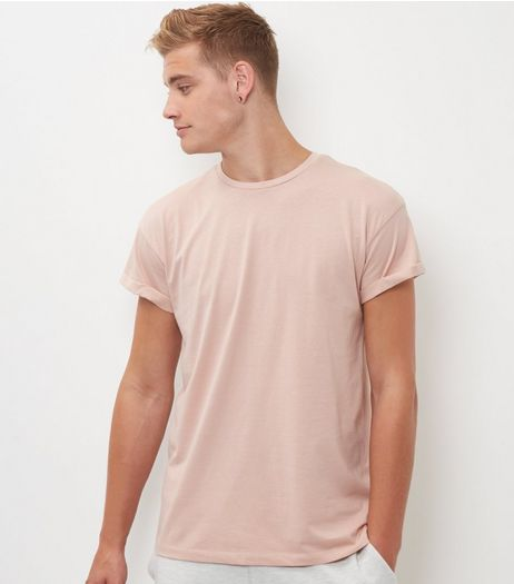 Mid Pink Roll Sleeve T-Shirt  | New Look