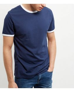 Navy Contrast Trim Crew Neck T-Shirt | New Look