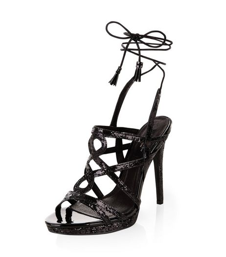 Black Premium Leather Glitter Swirl Strap Lace Up Heels  | New Look