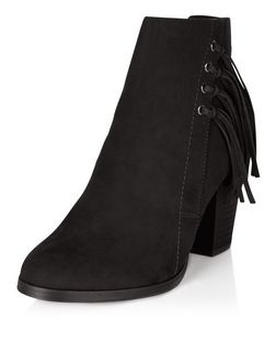 Black Suedette Tassel Side Block Heel Ankle Boots  | New Look