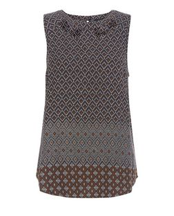 Black Geo Print Cut Out Sleeveless Top | New Look
