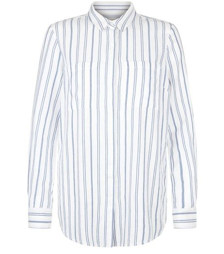 White Stripe Long Sleeve Shirt  | New Look