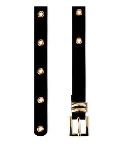 Black Velvet Eyelet Jeans Belt  | New Look
