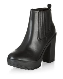 Black Faux Leather Block Heel Chelsea Boots  | New Look