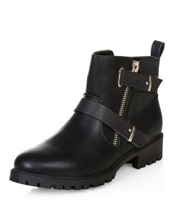 Black Double Strap Biker Boots  | New Look