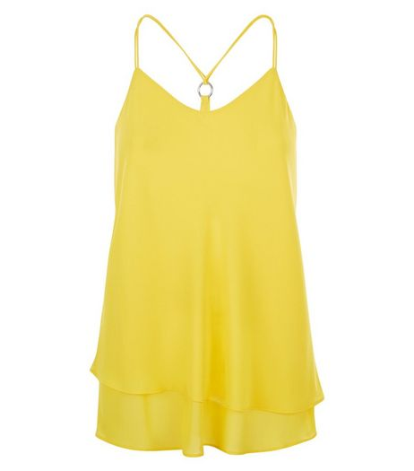 Yellow Ring Back Layered Cami  | New Look