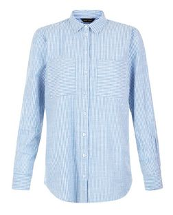 Blue Stripe Roll Sleeve Shirt | New Look