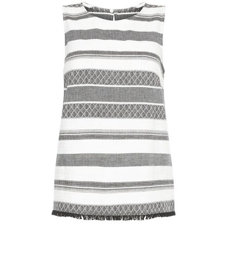 White Jacquard Stripe Fray Hem Sleeveless Top  | New Look