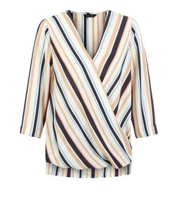 White Stripe Wrap Front 3/4 Sleeve Top  | New Look