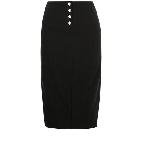 Black Button Front Bengaline Pencil Skirt  | New Look