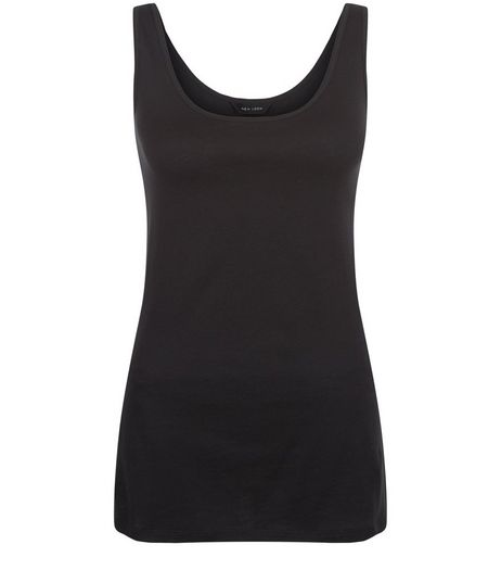 Black Scoop Neck Vest  | New Look