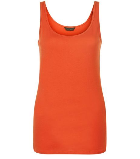 Bright Orange Scoop Neck Vest  | New Look