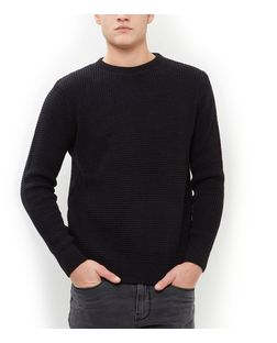 Navy Tuck Stitch Jumper  | New Look