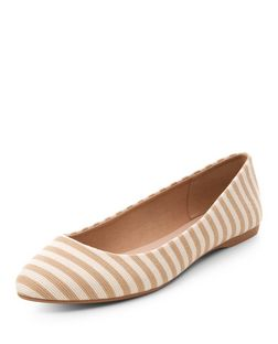 Wide Fit Camel Canvas Stripe Pointed Pumps  | New Look