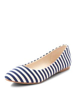 Wide Fit Navy Canvas Stripe Pointed Pumps  | New Look