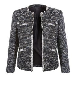 Black Boucle Knit Fray Trim Jacket  | New Look