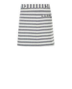 White Stripe Zip Pocket Mini Skirt  | New Look