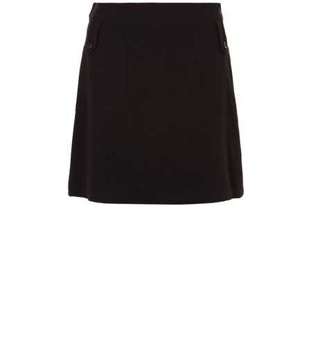 Black Tab Pocket A-Line Skirt  | New Look