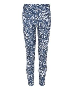 Blue Floral Print Trousers  | New Look