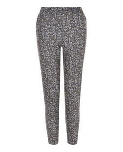 Black Ditsy Floral Print Slim Leg Trousers  | New Look