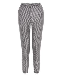 Black Geo Zig Zag Slim Fit Trousers  | New Look