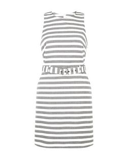 White Woven Stripe Belted Sleeveless Dress  | New Look